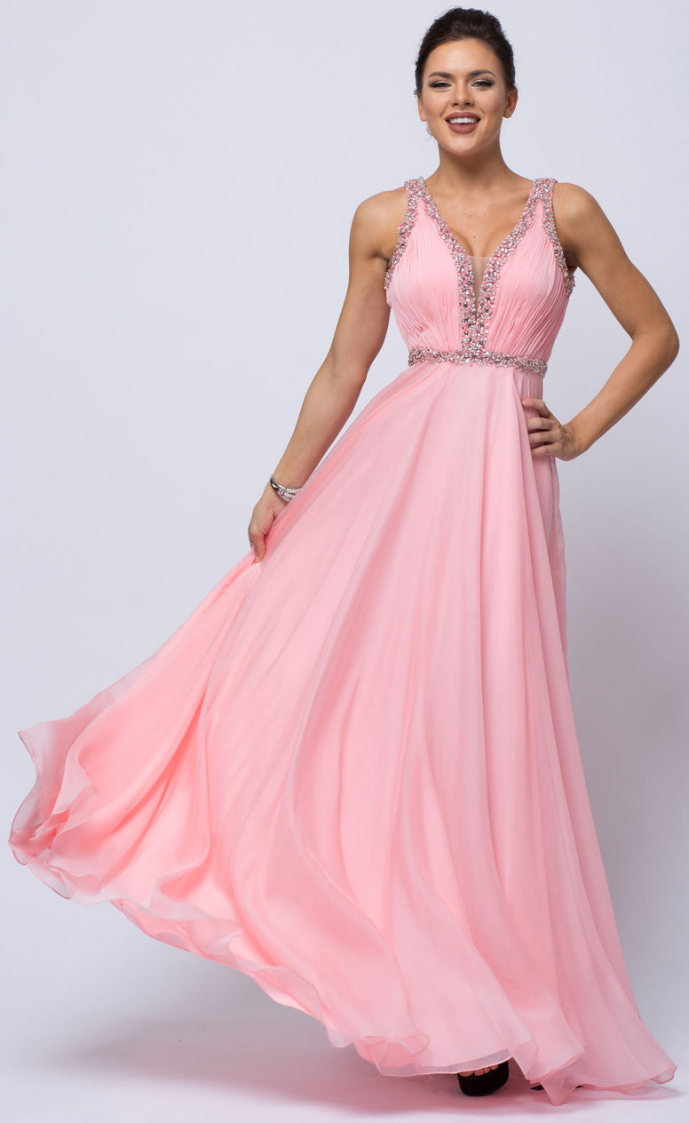SEQUINED SHIRRED BODICE A-LINE CHIFFON LONG PROM DRESS