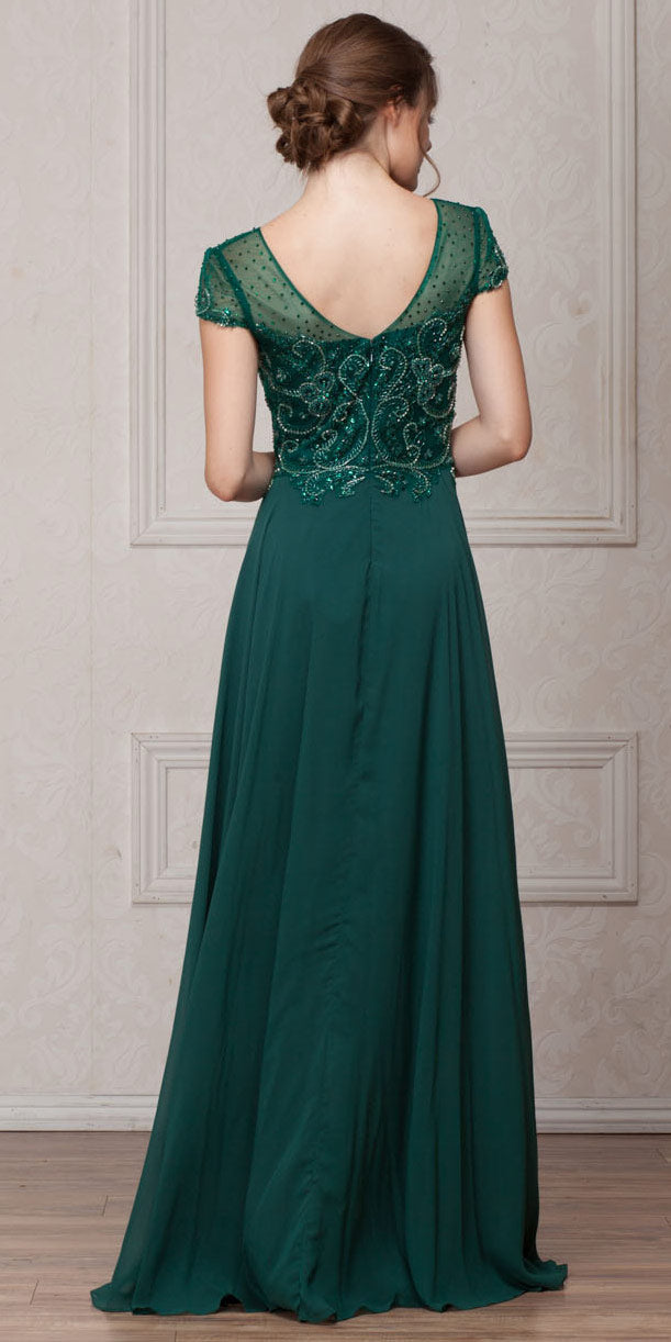 Short Sleeves V Neck Sequined Bust Long Formal Evening Dress
