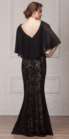 V-NECK FLORAL LACE SHEER CAPE LONG MOB GOWN
