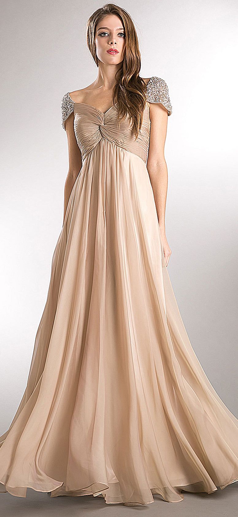 BEJEWELED SLEEVES PLEATED BUST LONG FORMAL EVENING DRESS