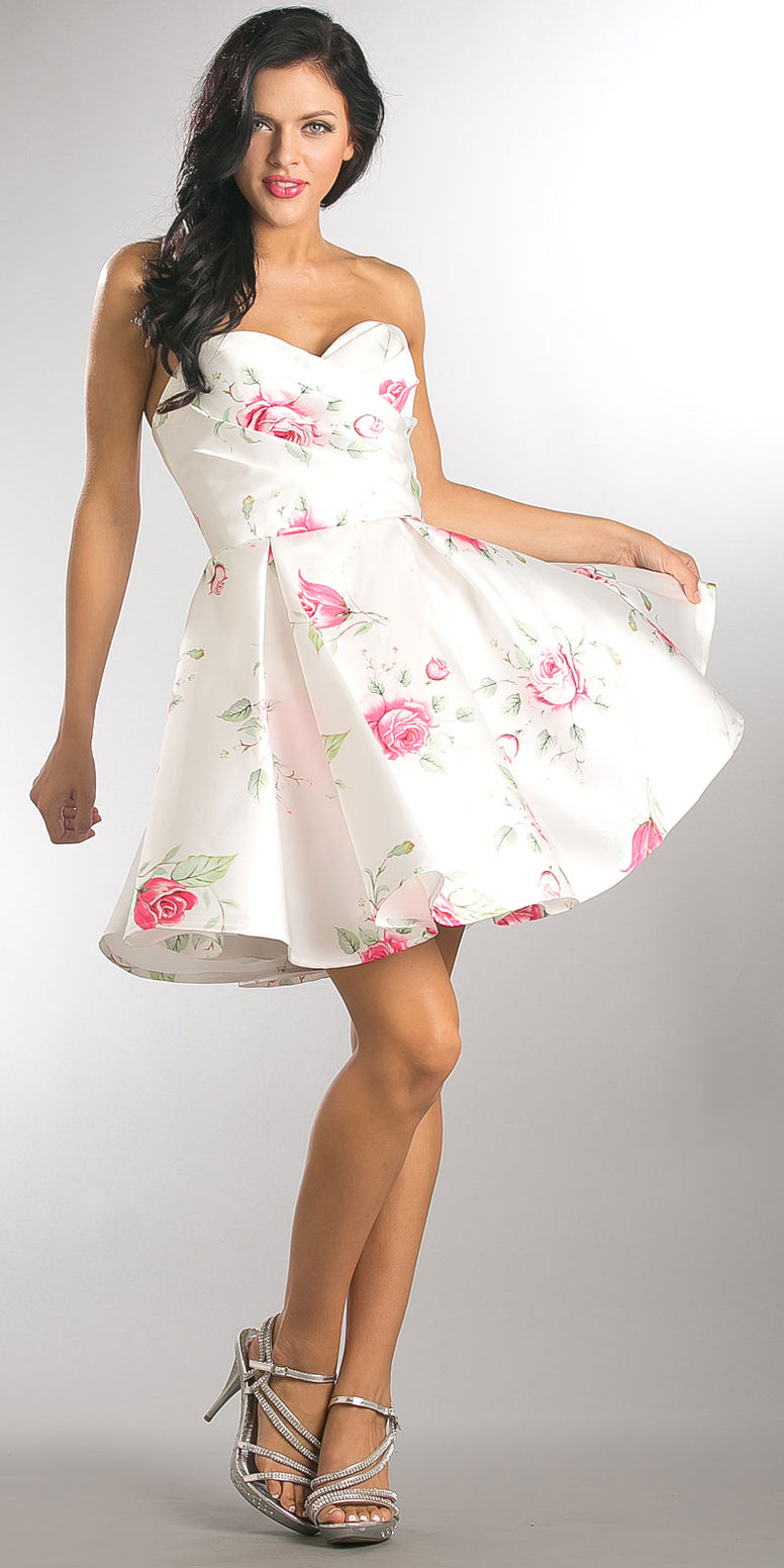 STRAPLESS SWEETHEART NECK ROSE PRINT SHORT PARTY DRESS