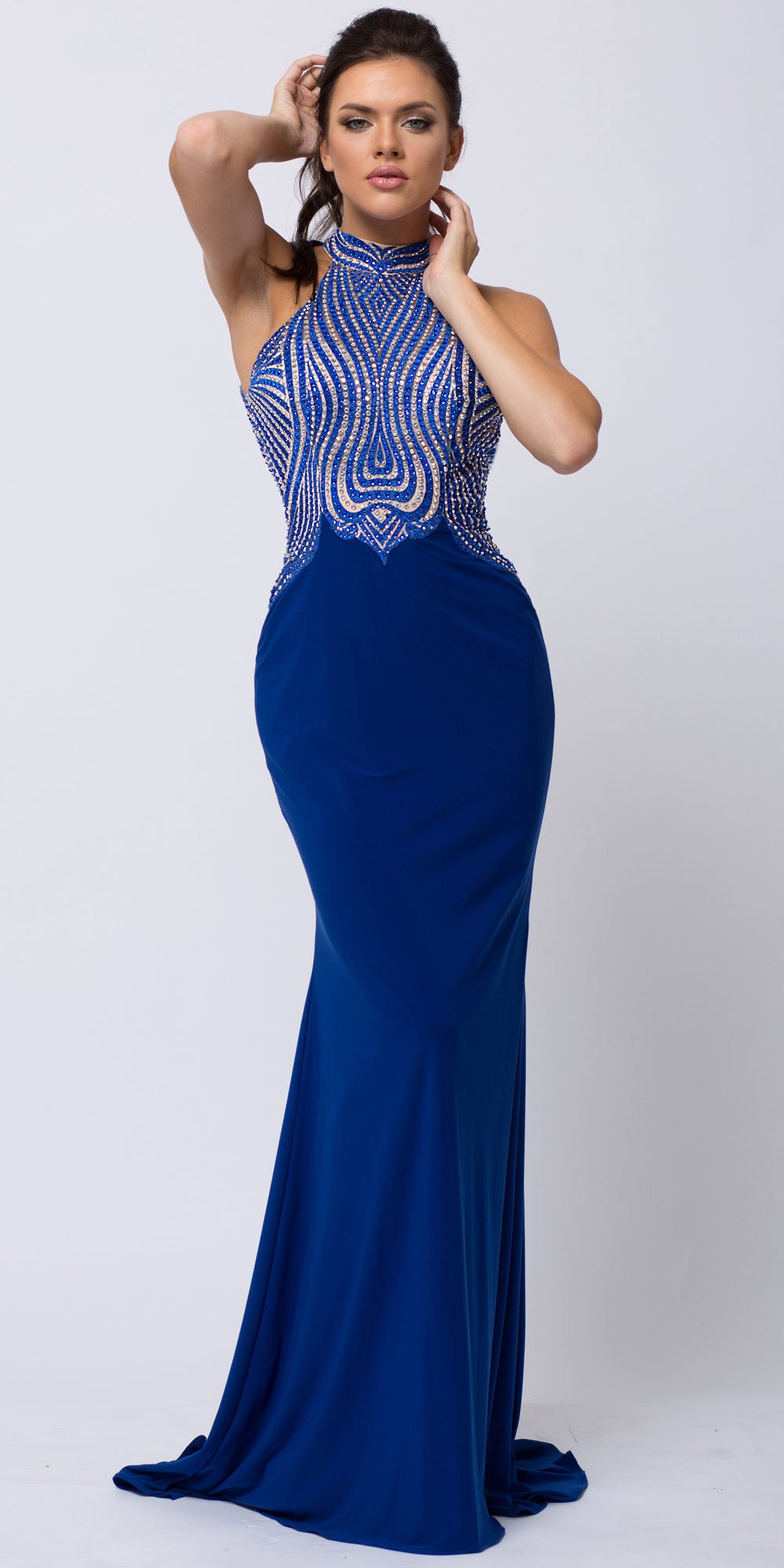 High Halter Neck Two Tone Bejeweled Top Long Prom Dress Heather