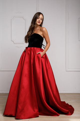 VELVET STRAPLESS LONG BALL GOWN WITH POCKETS