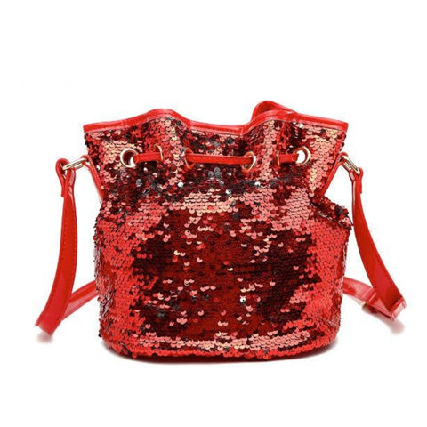 Red Sequin Drawstring Bag