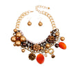 Chunky Chain Brown Pearl, Crystal, and Bead Charm Necklace Set