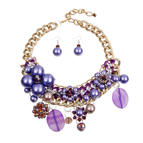 Chunky Chain Purple Pearl, Crystal, and Bead Charm Necklace Set