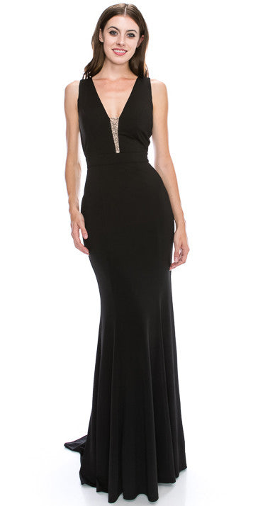 DEEP V-NECK BEADED ACCENT FITTED LONG FORMAL EVENING DRESS