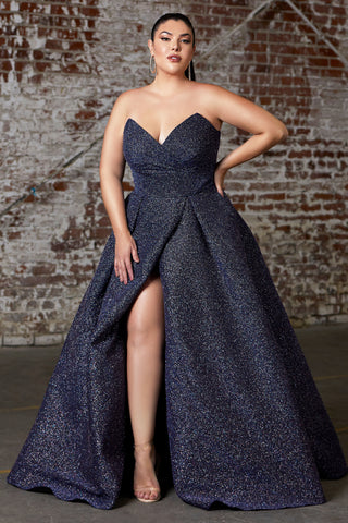 Stunning Strapless ball gown with glitter finish and lace up corset back.
