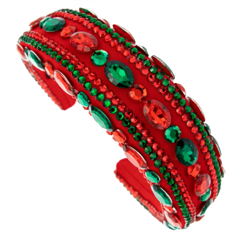 Green Red Crystal Padded Headband