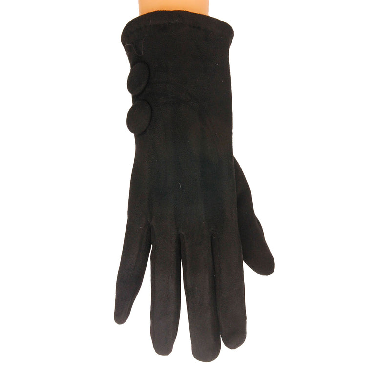 Black Button Touch Screen Gloves