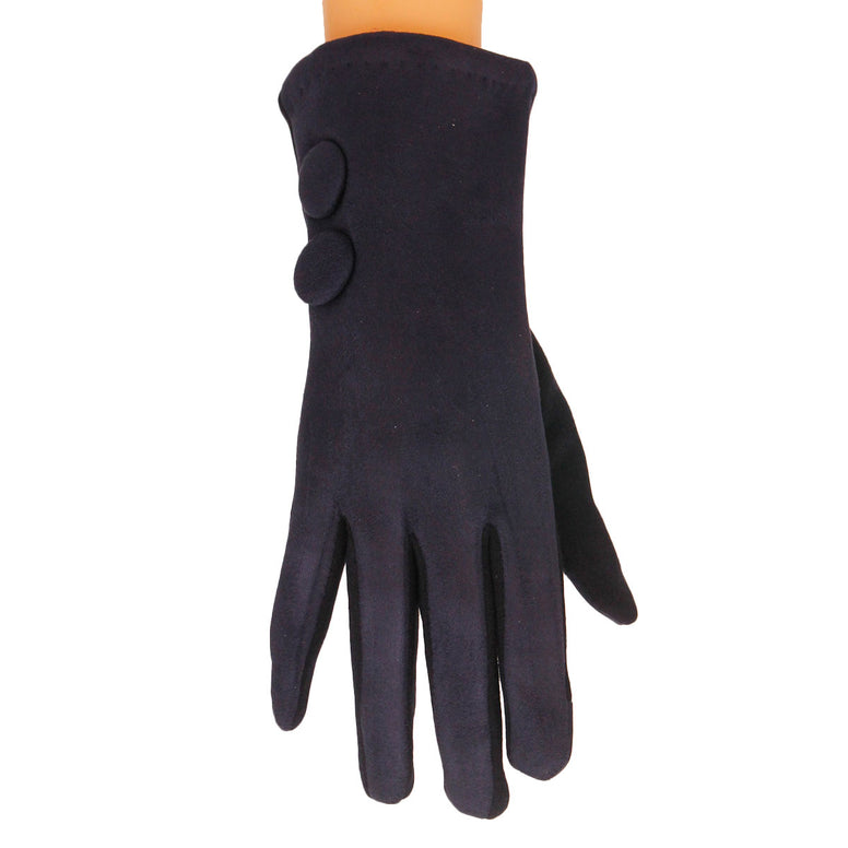 Navy Button Touch Screen Gloves