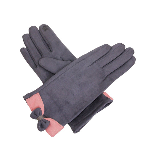 Gray Suede Touch Screen Gloves