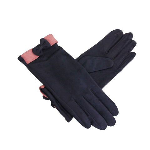 Navy Suede Touch Screen Gloves
