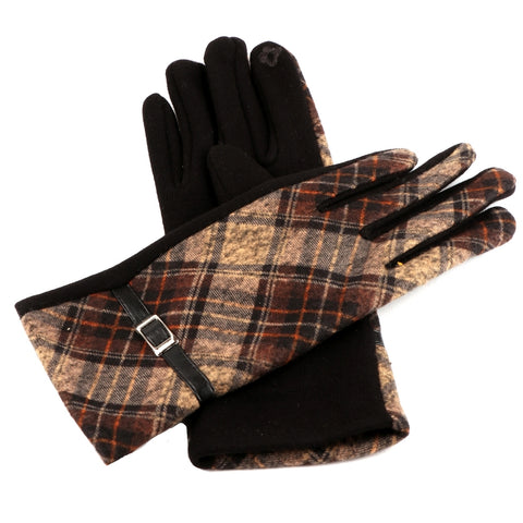 Brown Plaid Touch Screen Gloves