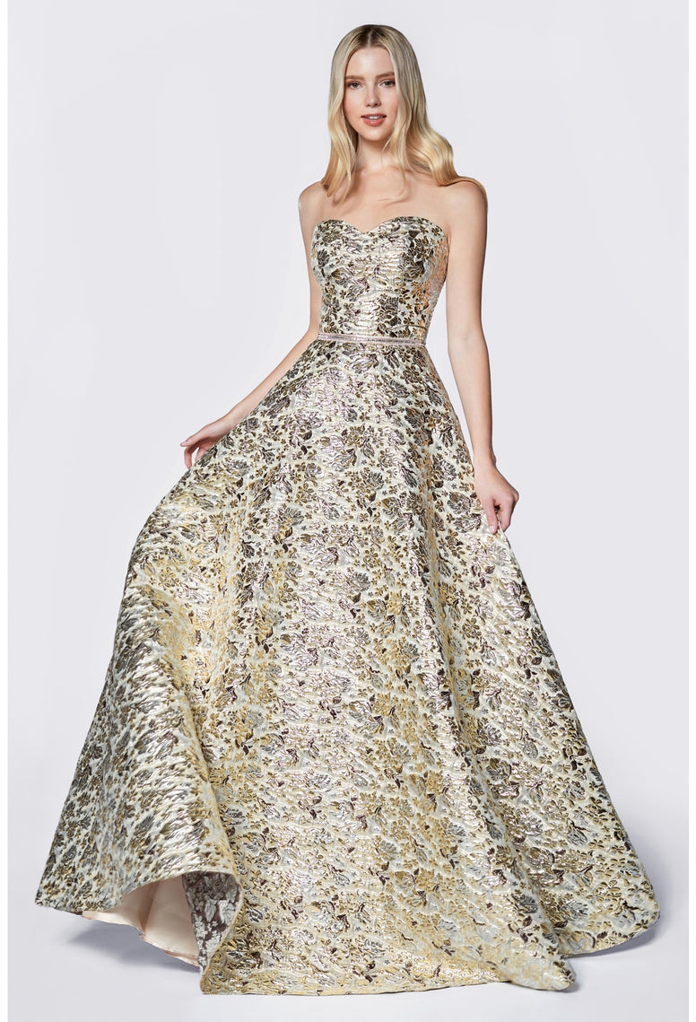 Metallic Brocade Ball Gown