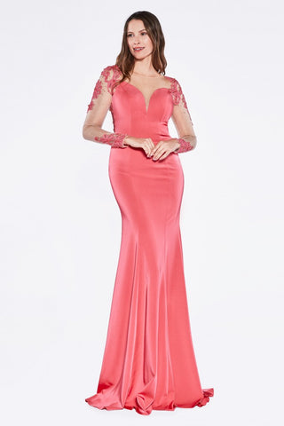 Hot Pink Long Sleeve Jersey Gown