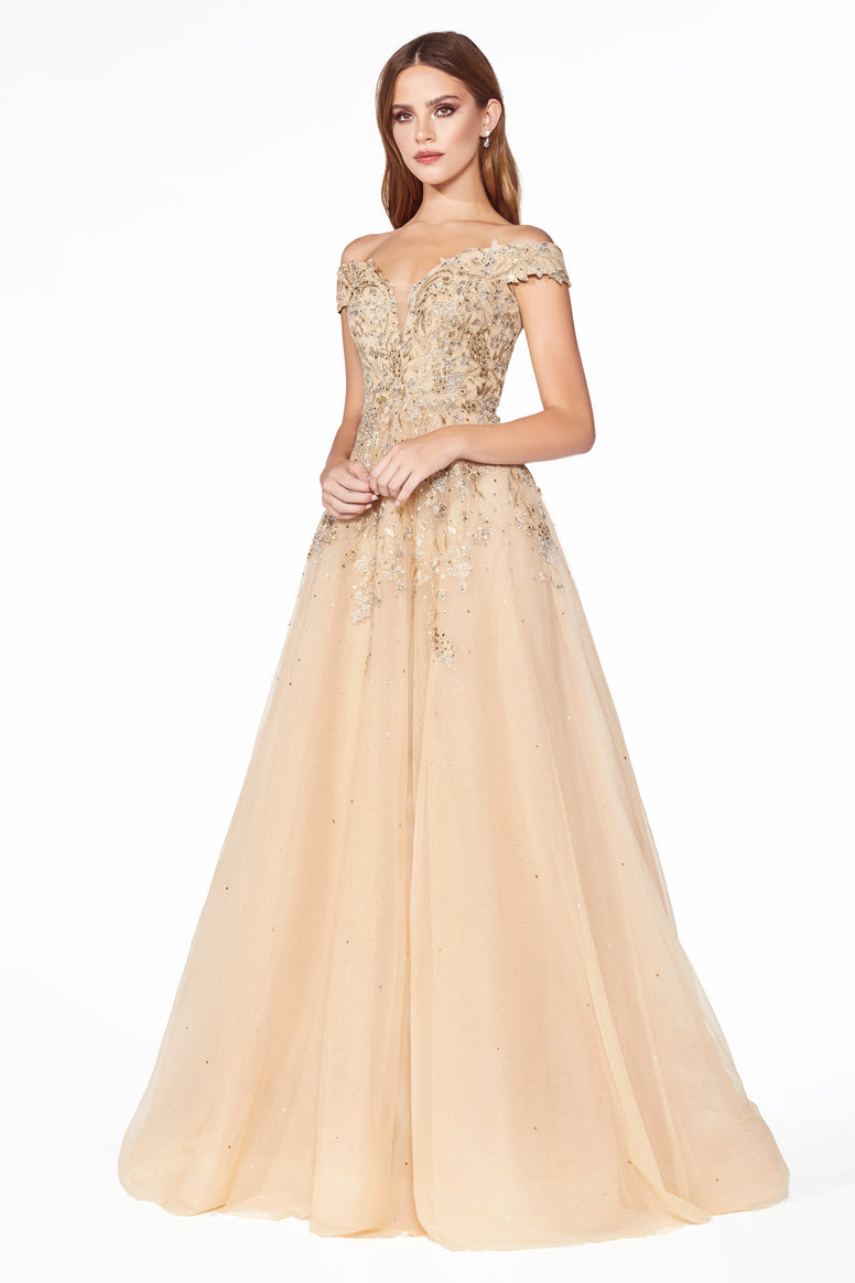 Off the shoulder ball gown with lace applique and lace up corset back.