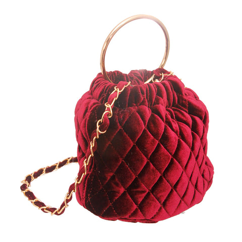 Burgundy Quilted Velvet Bucket Bag