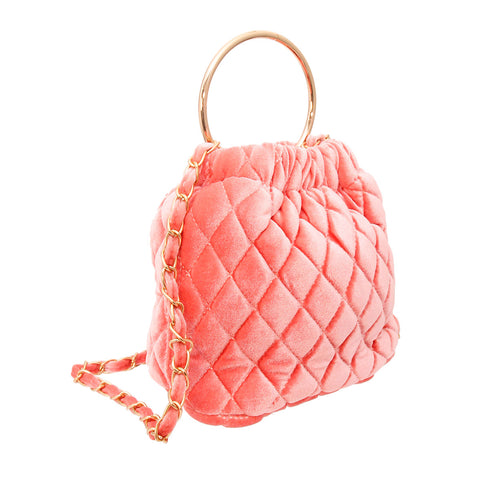 Pink Quilted Velvet Bucket Bag