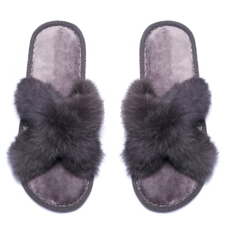 Size Medium Gray Fur Slippers