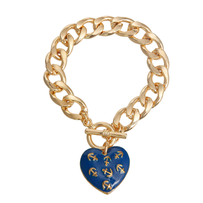 Blue Anchor Heart Toggle Bracelet