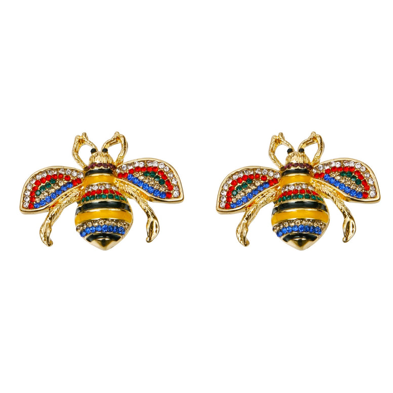 Gucci Style Stripe Bee Stud Earrings