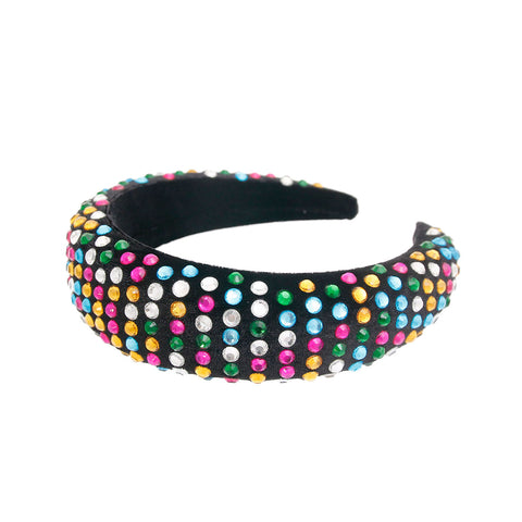 Multi Rhinestone Black Puffy Headband