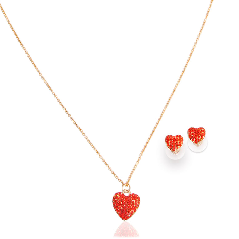 Red Pave Timeless Heart Set