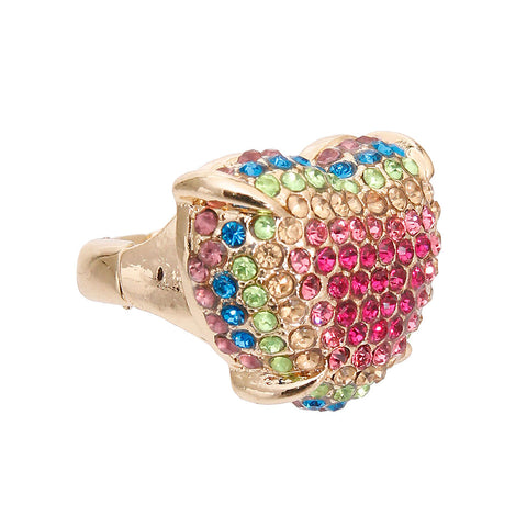 Rainbow Rhinestone Heart Stretch Ring