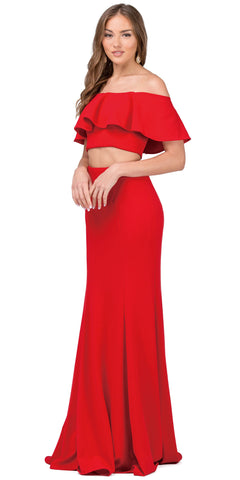 OFF-SHOULDER FLOUNCE TOP TWO PIECE LONG PROM DRESS