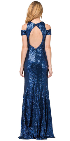 COLD SHOULDER KEYHOLE BACK SEQUIN LONG PROM DRESS