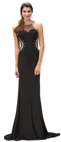 BEJEWELED SHEER MESH TOP FLOOR LENGTH FORMAL