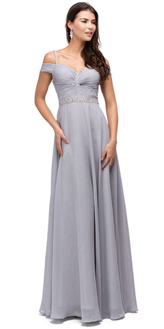 COLD SHOULDER BEADED WAIST LONG DRESS