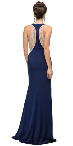 EMBELLISHED MESH ACCENT RACERBACK LONG EVENING PROM DRESS