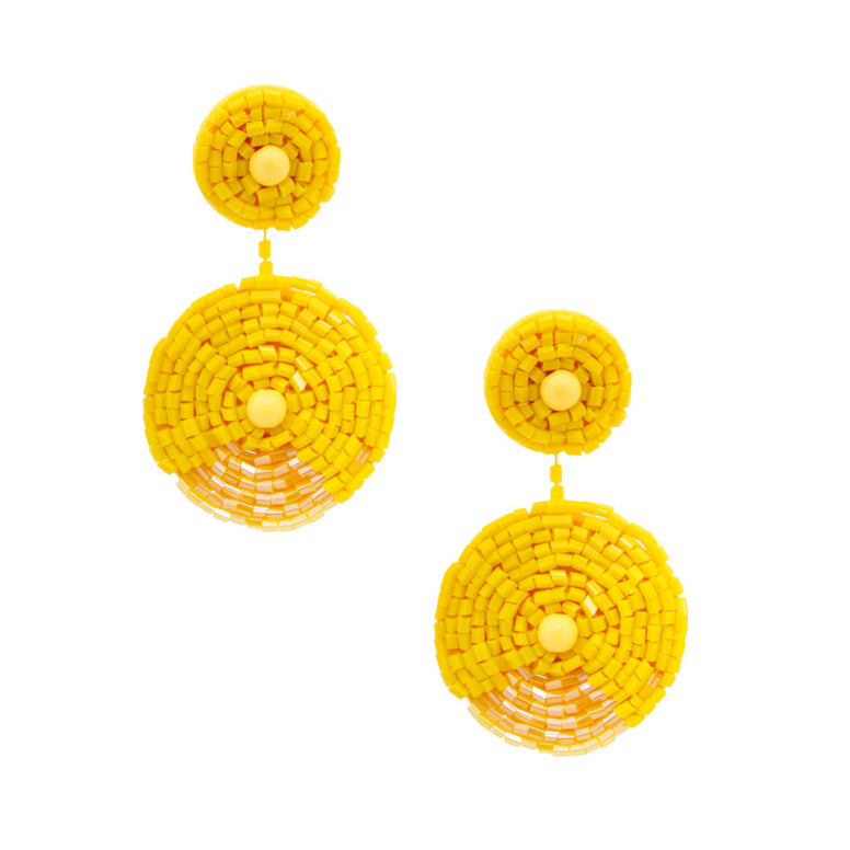 Yellow Embroidered Bead Earrings