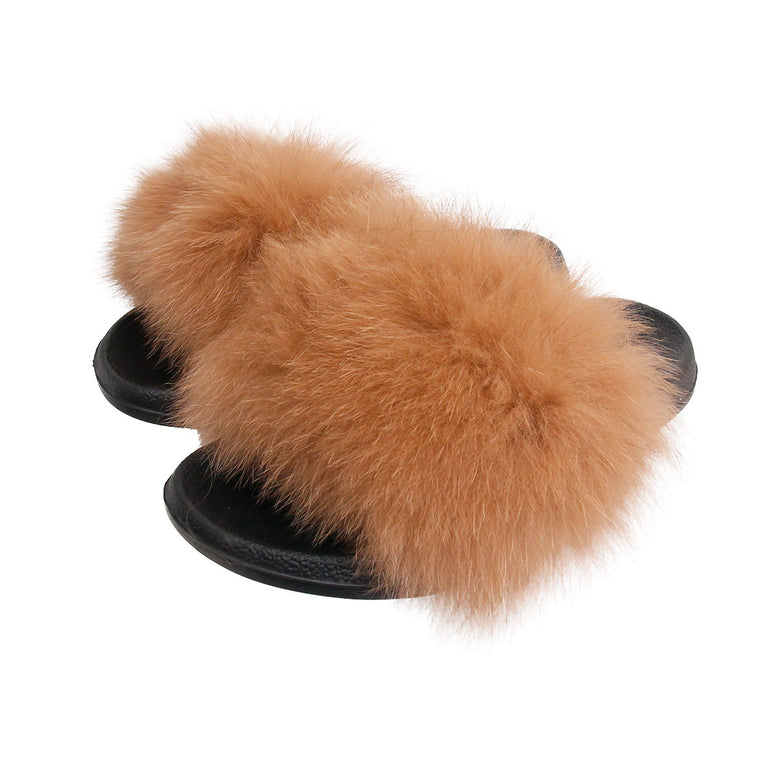 Brown Real Fox Fur Large Slippers