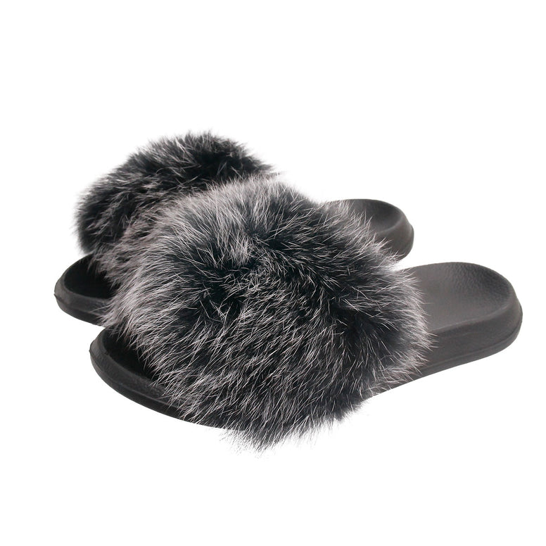 Gray Real Fox Fur Medium Slippers