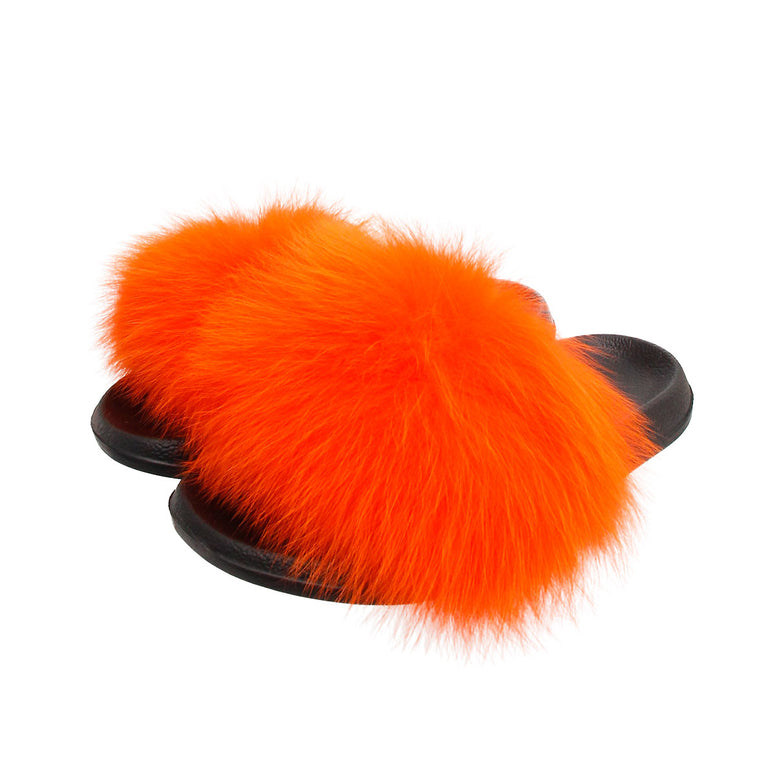 Orange Real Fox Fur Small Slippers
