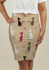 Pencil Skirt with Cats Pattern