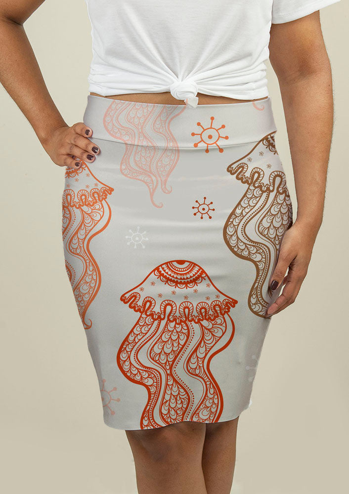 Pencil Skirt with Jellyfish