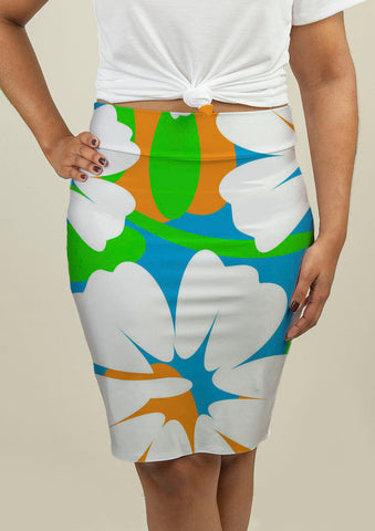 Pencil Skirt with Hibiscus Flowers