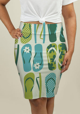 Pencil Skirt with Flip Flops