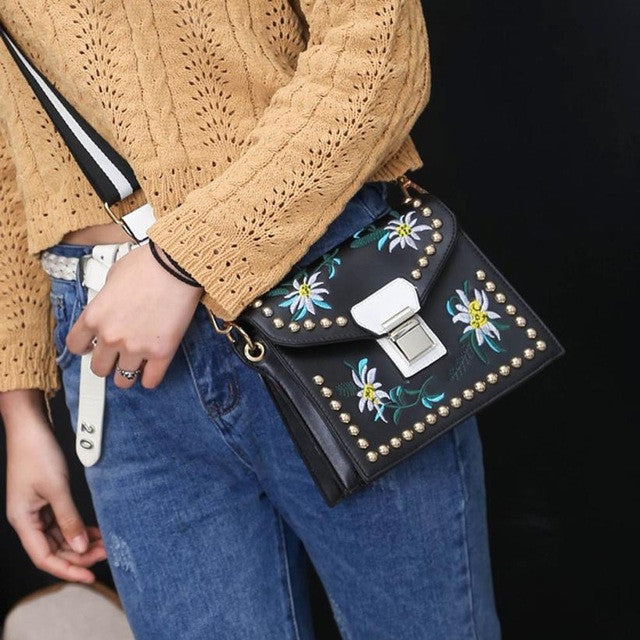 Leather Handbag - Flower Shoulder Bag