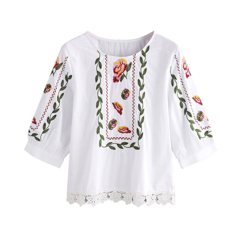 Women Lace Floral Flower Printed Blouse Casual Tops Loose T-Shirt