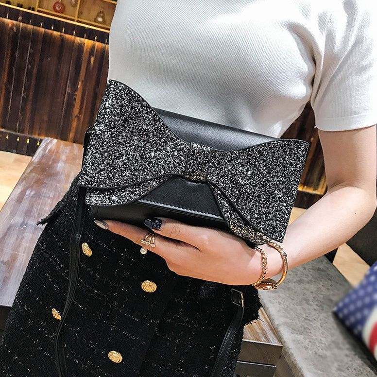 Womens Leather Sequins Bowknot Crossbody Bag Shoulder Bags Purse Messenger Bag