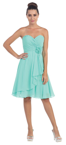 STRAPLESS FLORAL ACCENT SHORT FORMAL BRIDESMAID PARTY DRESS