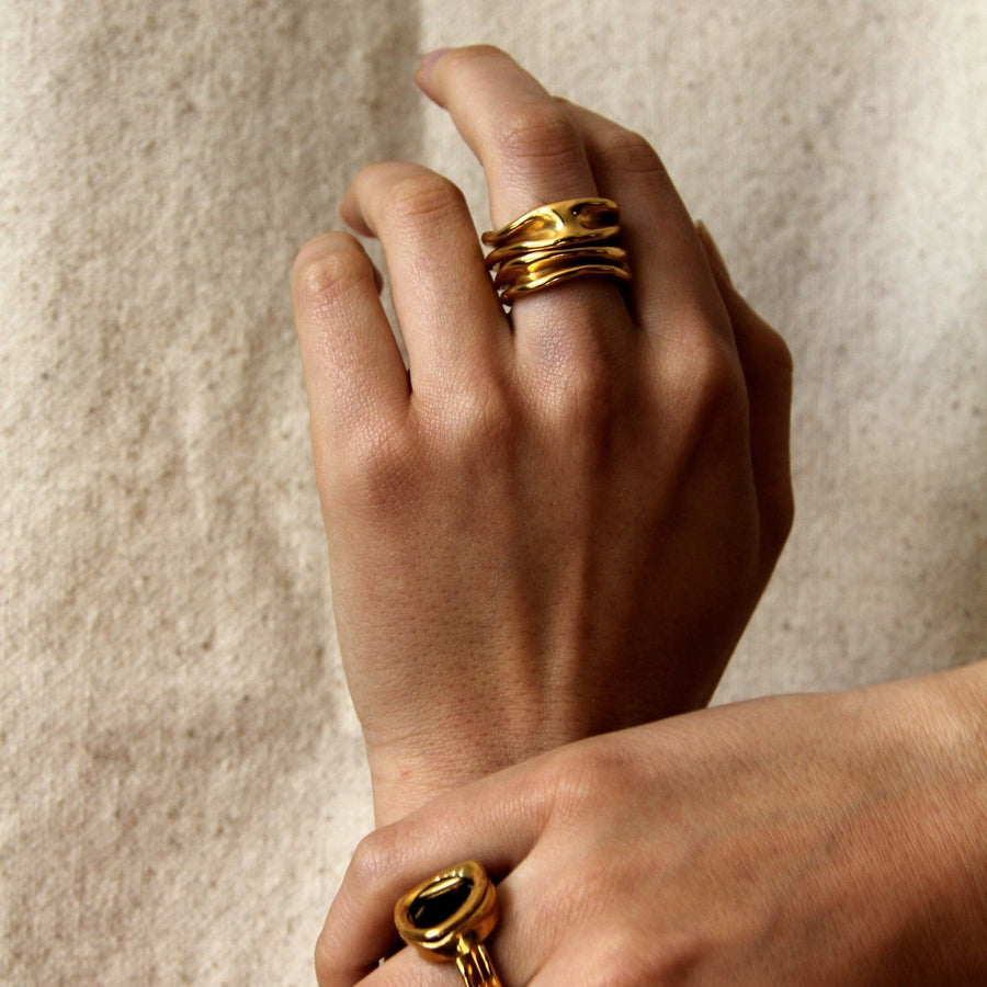 SWELL GOLD PLATED RING by EMMA AITCHISON - Unearth Store