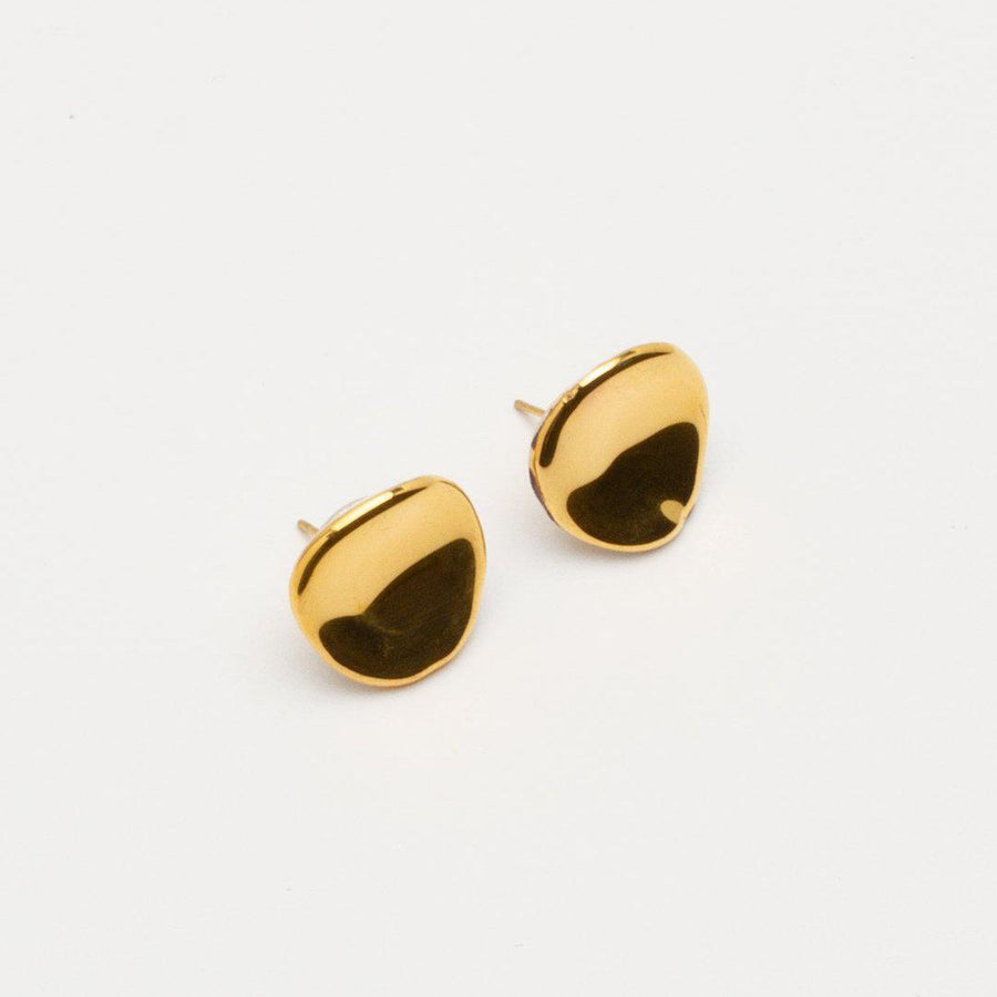 SHELL GOLD PLATED CERAMIC EARRINGS by PEDRUSCO - Unearth Store