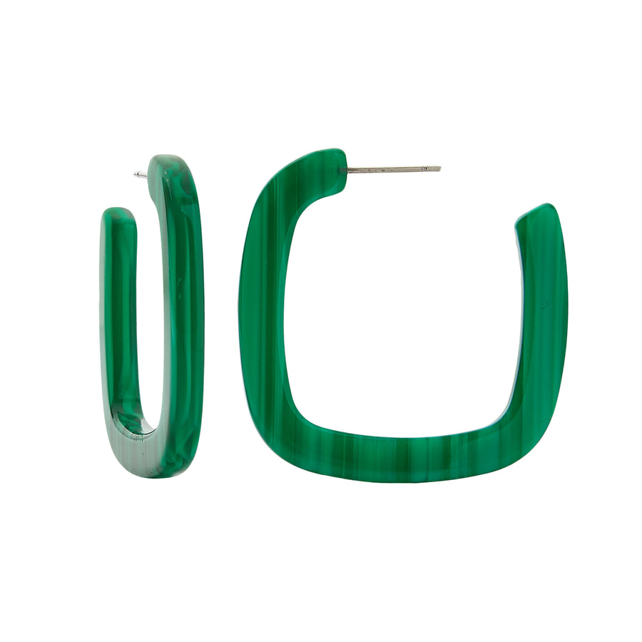 MIDI SQUARE MALACHITE HOOP EARRINGS by MACHETE - Unearth Store