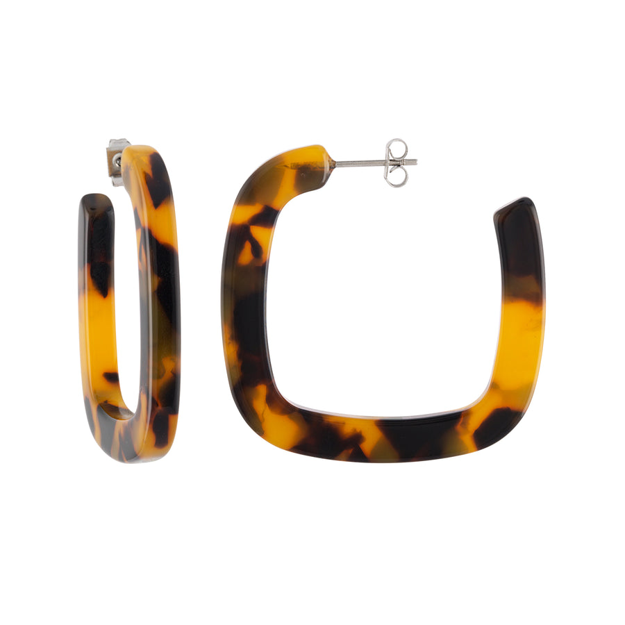MIDI SQUARE CLASSIC TORTOISE HOOP EARRINGS by MACHETE - Unearth Store